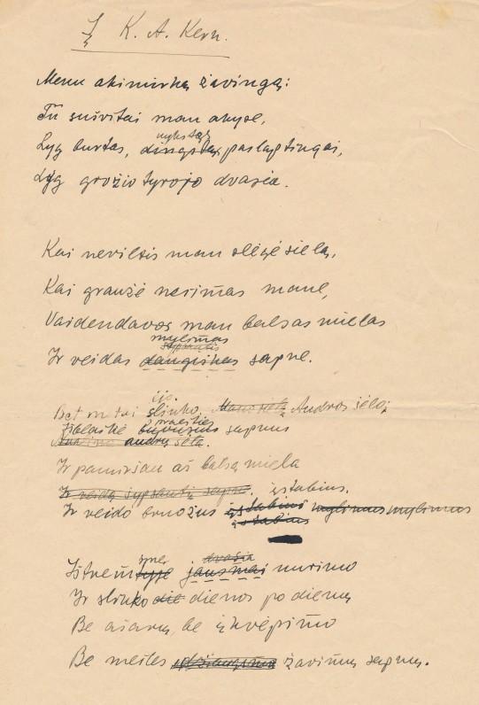 A. Puškino kūrybos vertimo rankraštis