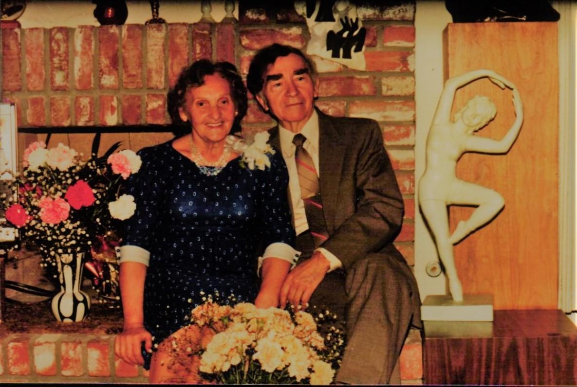 Aldona ir Bernardas Brazdžioniai savo vedybų 50-mečio šventėje. Vista, 1984 m. vasario 2 d.