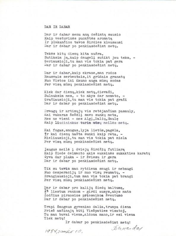 B. Brazdžionio eilėraštis, skirtas žmonai vedybų 50-mečio proga. Vista, 1984 m.