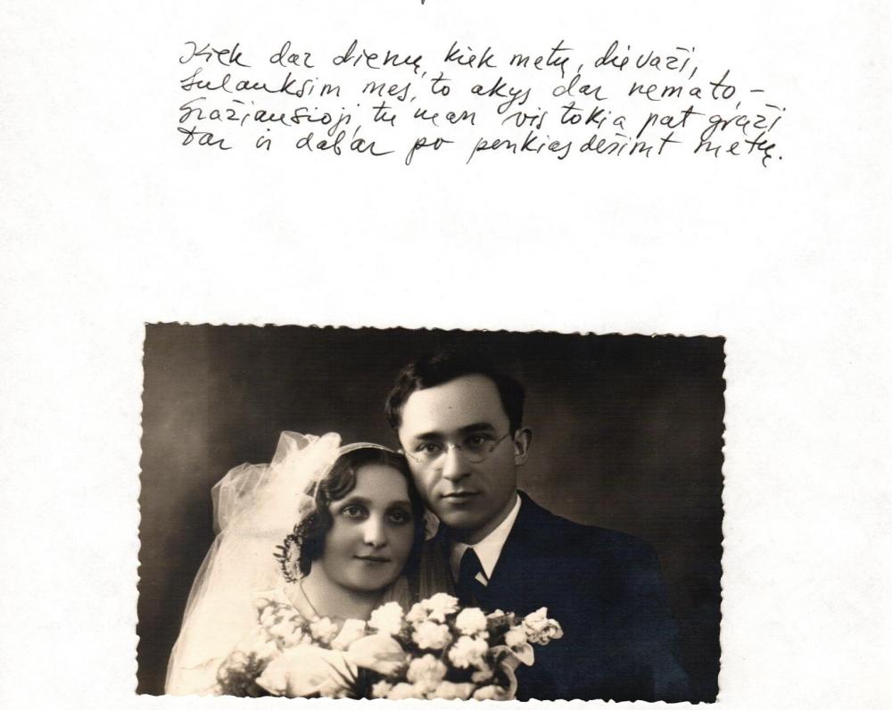 B. Brazdžionio rankraštis. Nuotraukoje – Aldona ir Bernardas Brazdžioniai Kaune 1934 m. sausio 10 d.