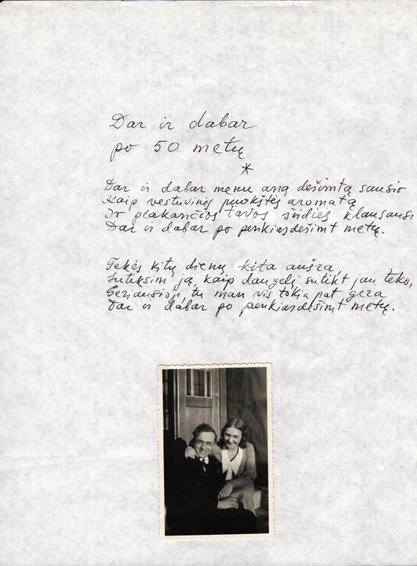 B. Brazdžionio rankraštis. Nuotraukoje – Aldona ir Bernardas Brazdžioniai Kaune apie 1933–1934 m.