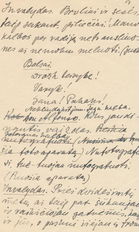 """Fragmentas iš paskutinės K. Binkio dramos """"Generalinė repeticija"""". Šią dramą rašė jau sunkiai sirgdamas"""