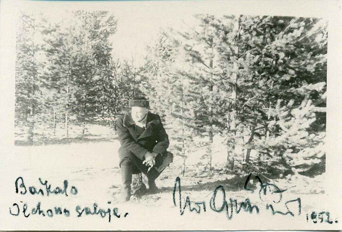 J. Graičiūnas Chužyre, Olchono saloje (Irkutsko sritis, Rusija). 1952 m.