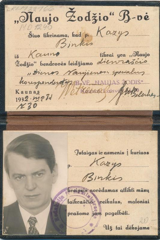 """K. Binkio – """"Lietuvos Naujienų"""" korespondento – pažymėjimas"""