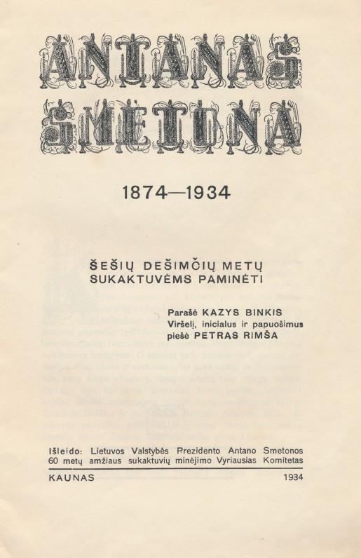 K. Binkis. A. Smetonos biografija. 1934 m.