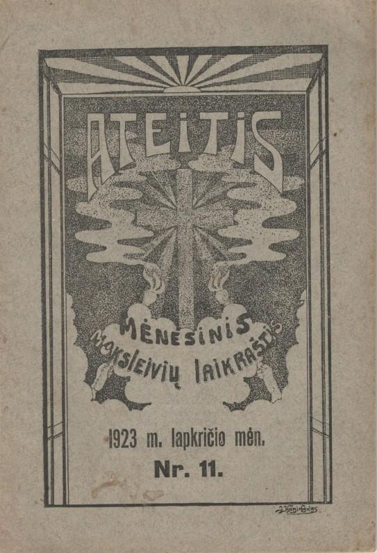 """Lietuvos universiteto studentų ateitininkų mėnesinis leidinys moksleiviams """"Ateitis"""". Kaunas. 1923 m."""