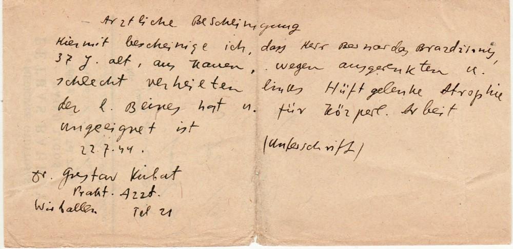 Pažymos juodraštis, B. Brazdžionio parašytas ant vaistų recepto. 1944 m.