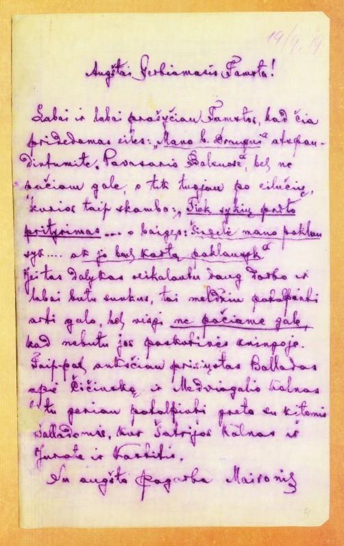 Pirmame knygos lape įklijuotas Maironio laiškas redaktoriui