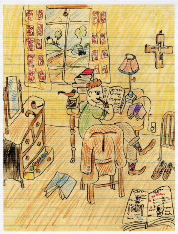 15. Rašytojo Juliaus Kaupo piešinys