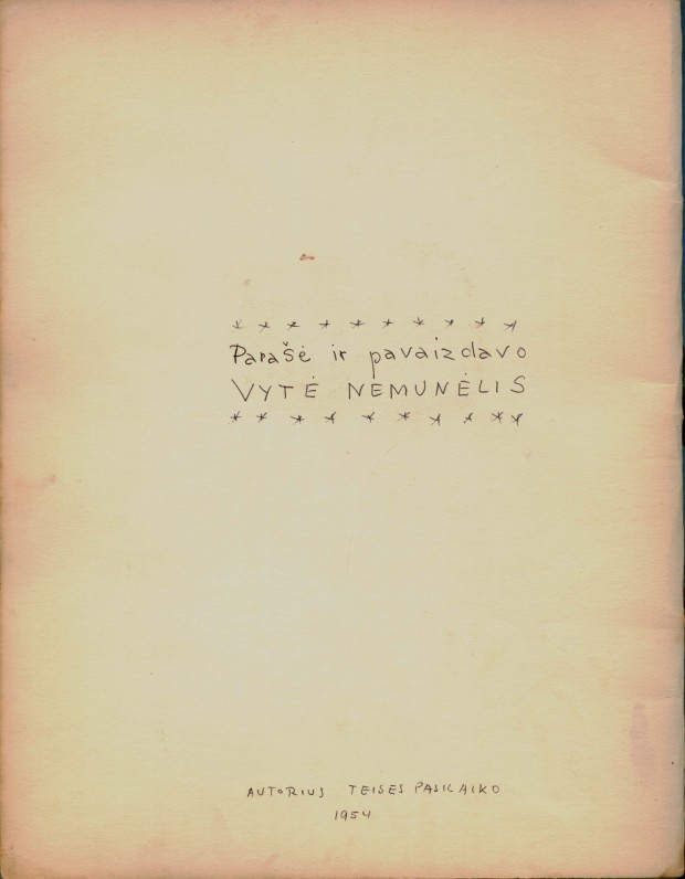 """B. Brazdžionio rankraštinės knygos """"Rasos karoliai"""" fragmentas"""