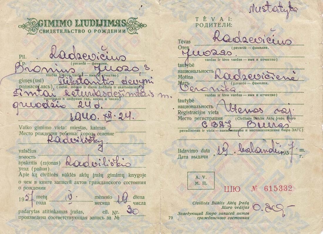 B. Radzevičiaus gimimo liudijimas (nuorašas). Radviliškis