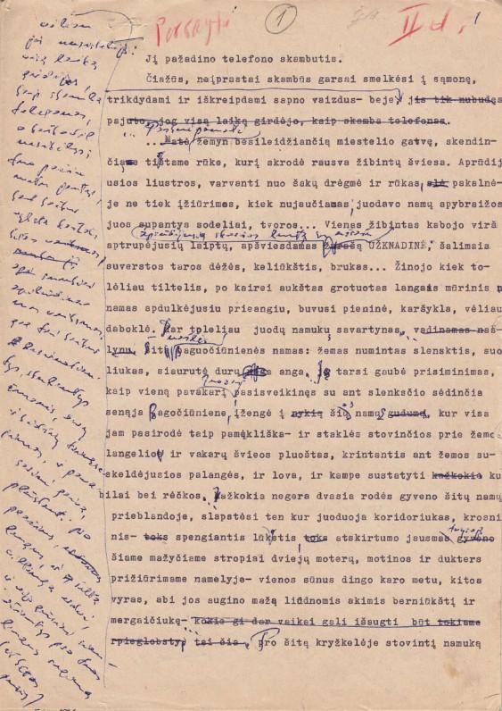 """B. Radzevičiaus romano """"Priešaušrio vieškeliai"""" (2-osios dalies pradžios) rankraštis"""