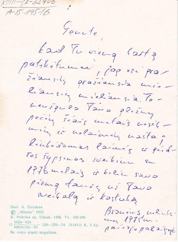 B. Radzevičiaus sveikinimas žmonai Genutei. 1975 m. gruodis