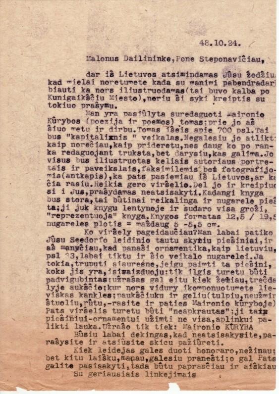 Ber. Brazdžionio laiškas dailininkui J. Steponavičiui. 1948 m. spalio 24 d.