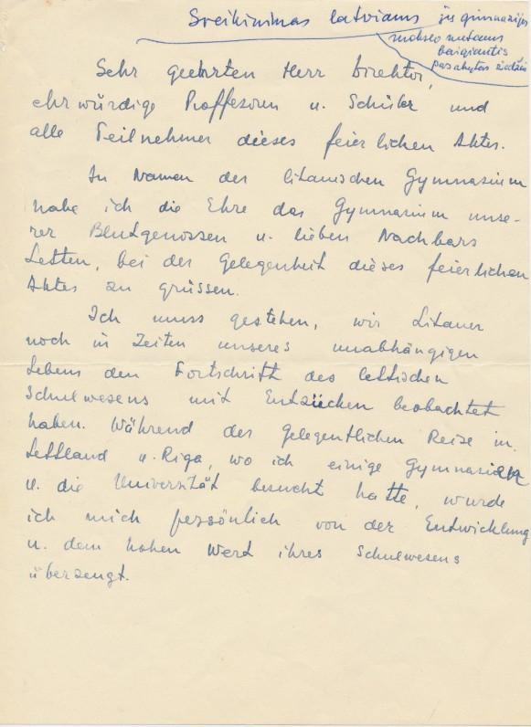 Č. Grincevičiaus kalba, pasakyta Glasenbacho gimnazistams. 1948 m. kovo 14 d.