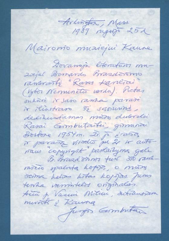 """Jurgio Gimbuto dedikacija muziejui Bern. Brazdžionio rankraštinėje knygoje """"Rasos karoliai"""""""