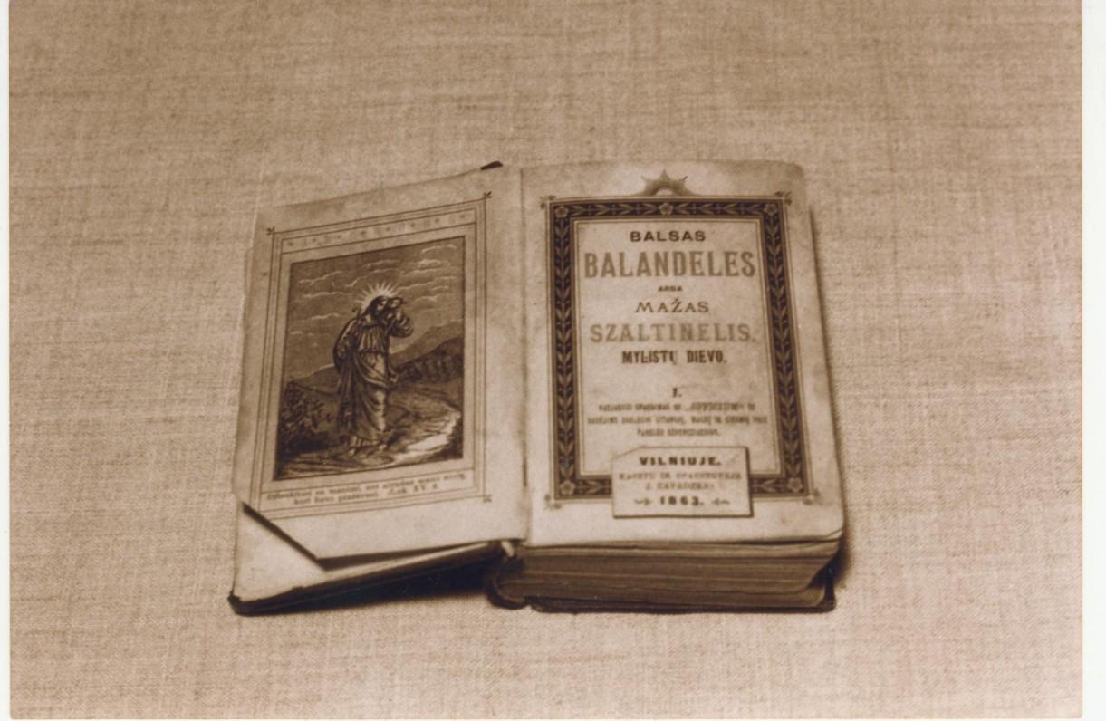 Kontrafakcinis leidinys – lietuviška maldaknygė, išleista Tilžėje 1891 m. V. Kudirkos dovana M. K. Sideravičienei