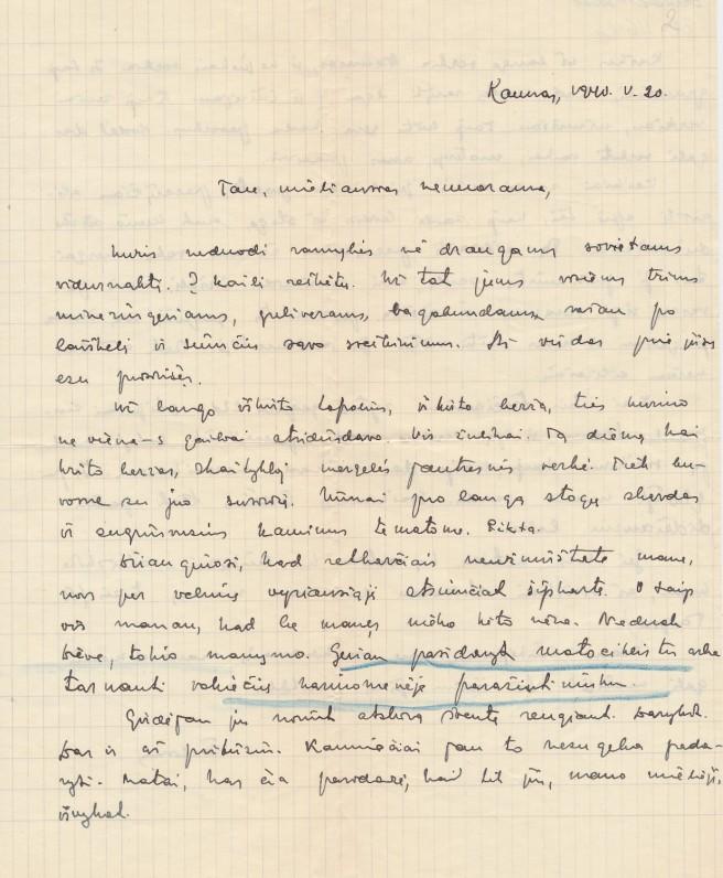 Laiškas A. Nykai-Niliūnui