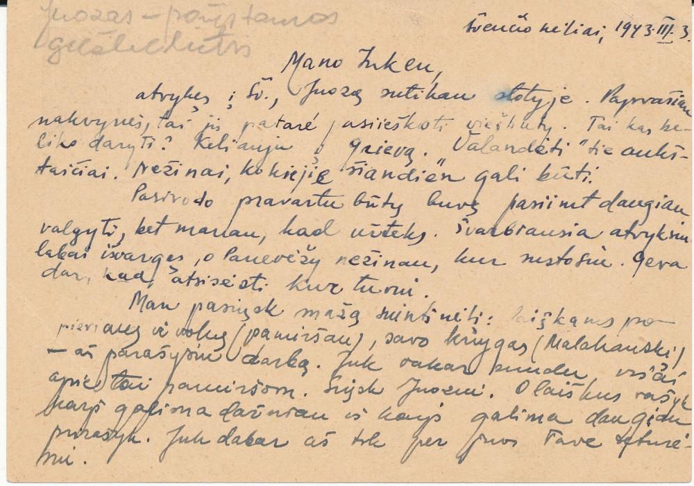 Laiškas su B. Vildžiūnaitės prierašu