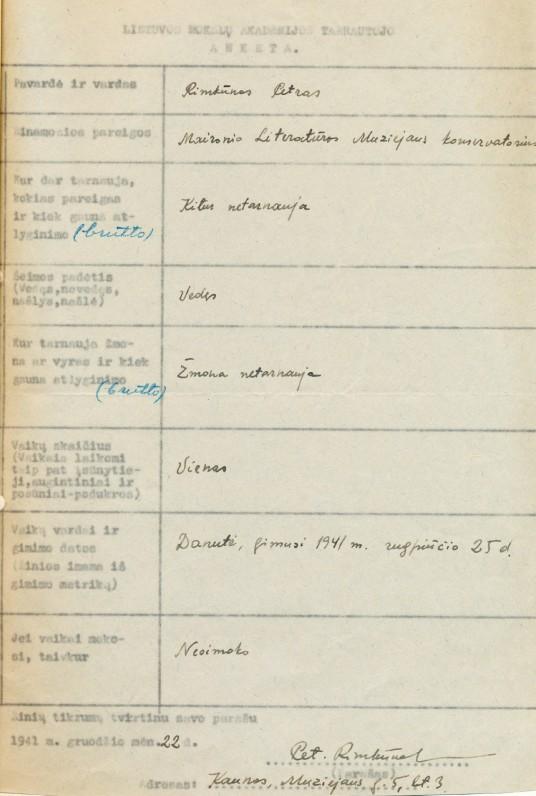 P. Rimkūno – Maironio literatūros muziejaus darbuotojo anketa. 1941 m.
