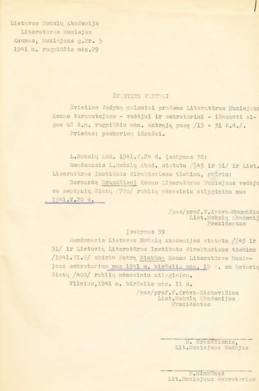 Prašymas Švietimo vadybai išmokėti atlyginimus už rugpjūčio mėnesio II pusę. 1941 m.