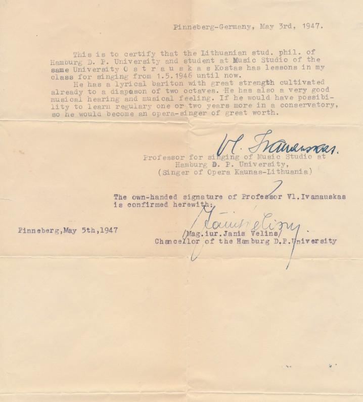 Prof. Vlado Ivanausko atsiliepimas apie K. Ostrausko muzikinius gebėjimus