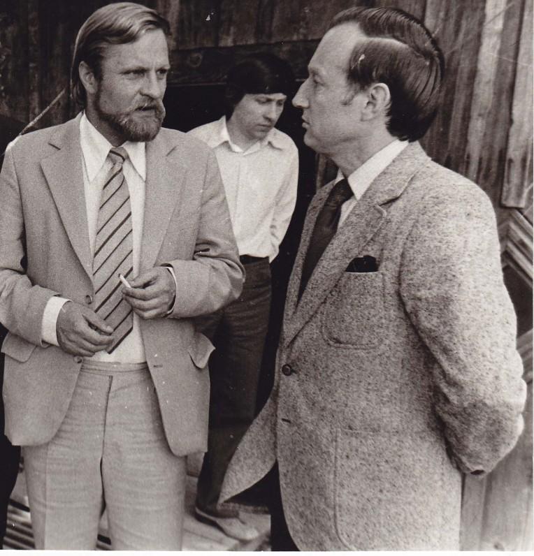 Prozininkai B. Radzevičius, A. Pocius (dešinėje) ir D. Mušinskas (viduryje). Vilnius, 1980 m.