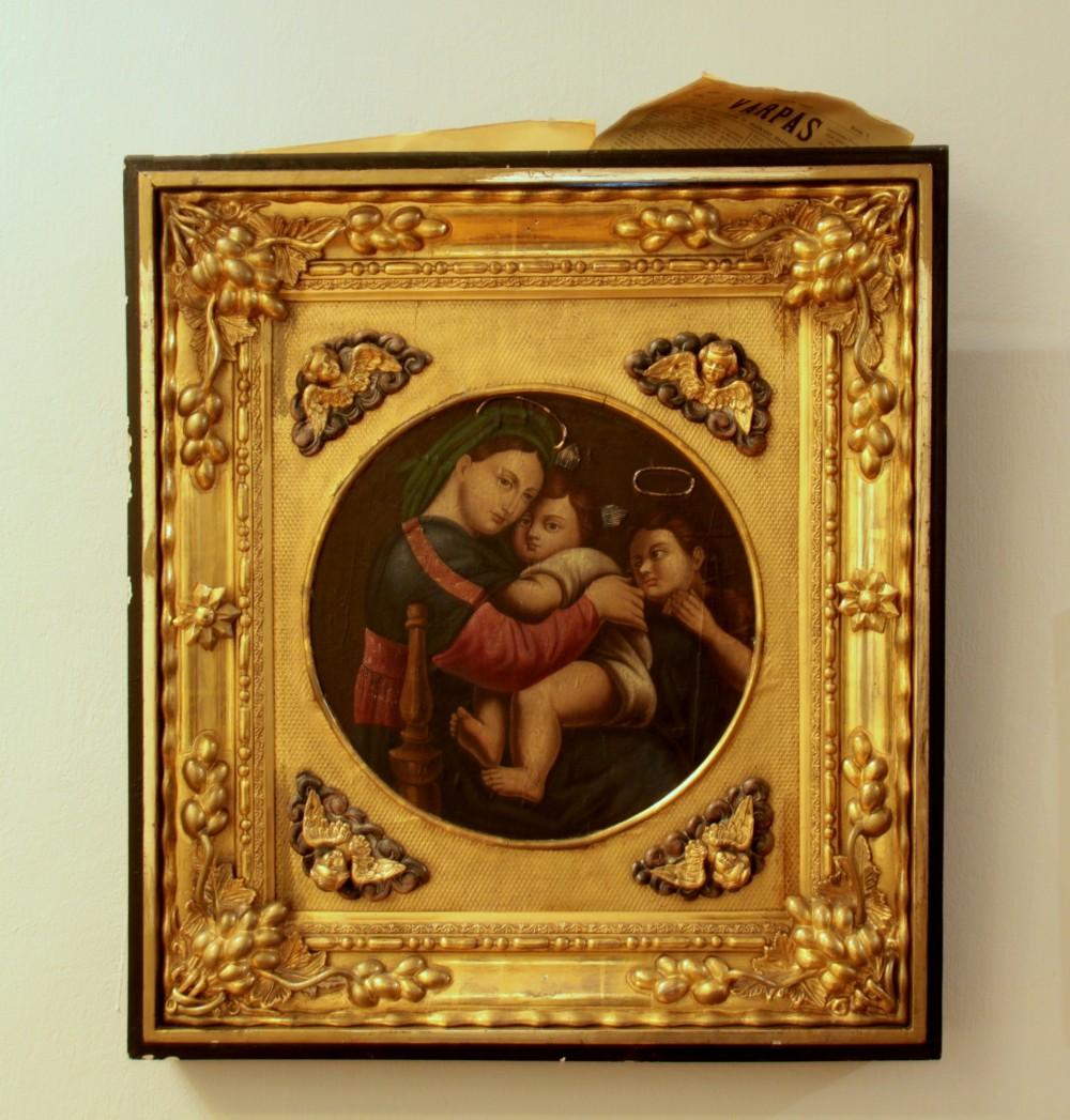"""Rafaelio """"Madonos"""" kopija žalvario papuošime. Autorius nežinomas. XIX a."""