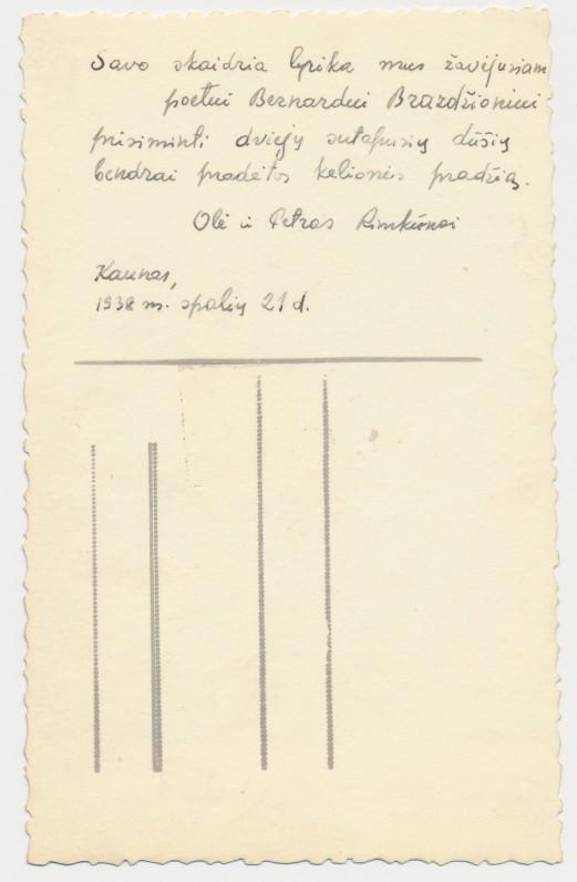 Rimkūnų vestuvinės nuotraukos, dedikuotos Bern. Brazdžioniui, kita pusė. 1938 m. spalio 21 d.