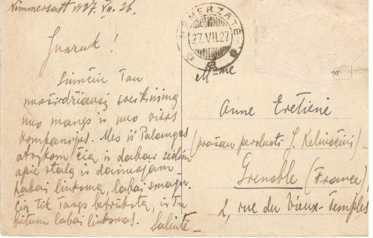 S. Nėries laiškas iš Nemirsetos Juozui Keliuočiui į Grenoblį 2