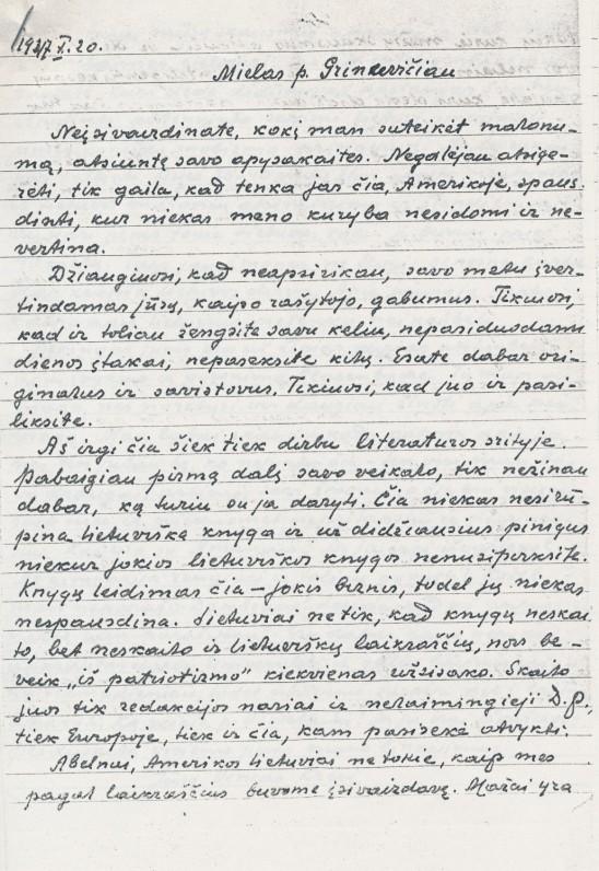 V. Krėvės laiškas Č. Grincevičiui. 1947_10_20
