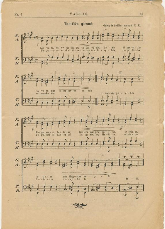 """V. Kudirkos """"Tautiška giesmė"""" pirmąsyk buvo išspausdinta """"Varpe"""". 1898 m. Nr. 6"""
