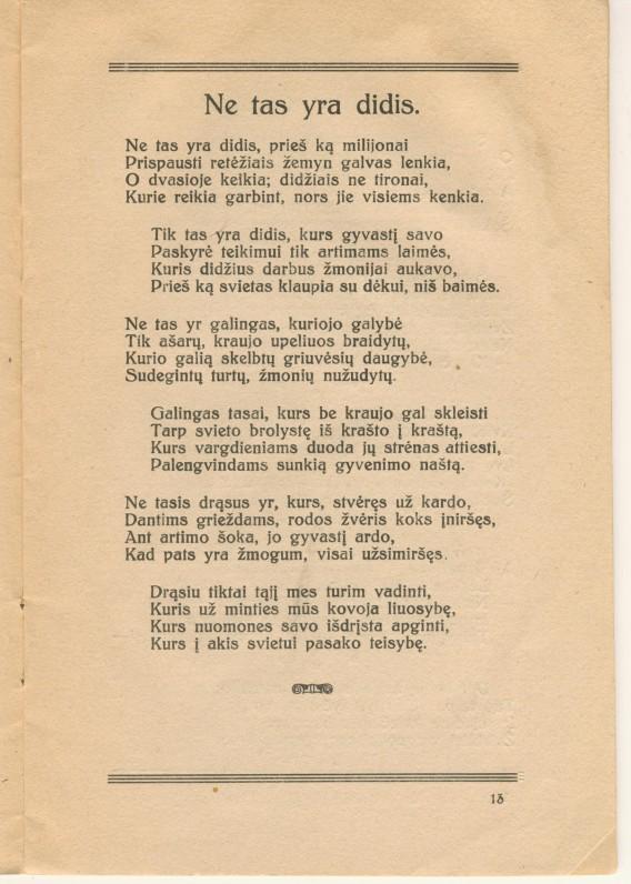 """V. Kudirkos eilėraštis """"Ne tas yra didis"""", publikuotas knygoje """"Laisvos valandos"""". Šiauliai. 1929 m."""
