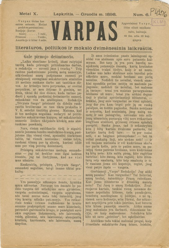 """V. Kudirkos redaguotas """"Varpas"""". 1898 m. Nr. 6"""