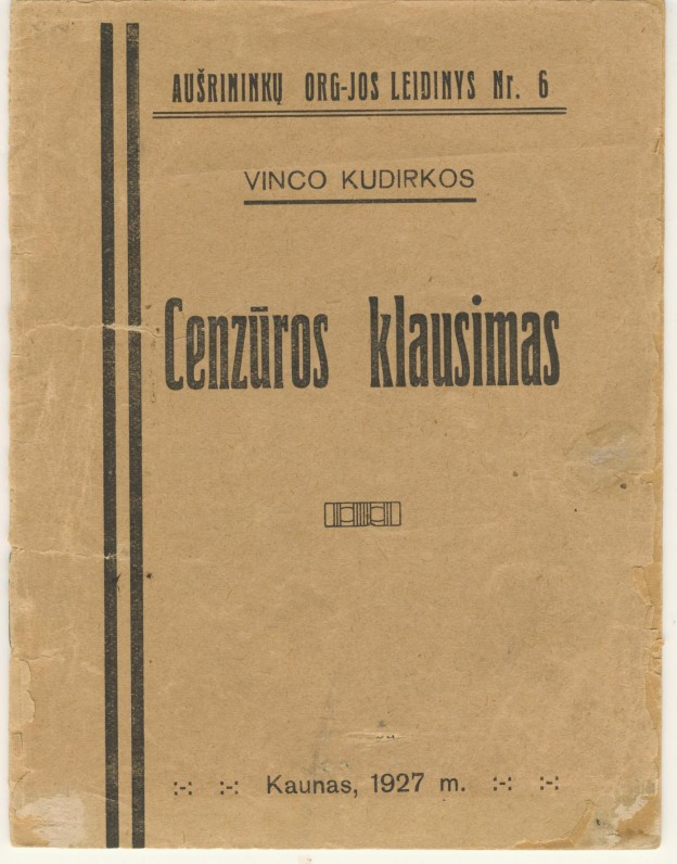 """V. Kudirkos satyra """"Cenzūros klausimas"""". Kaunas. 1927 m."""