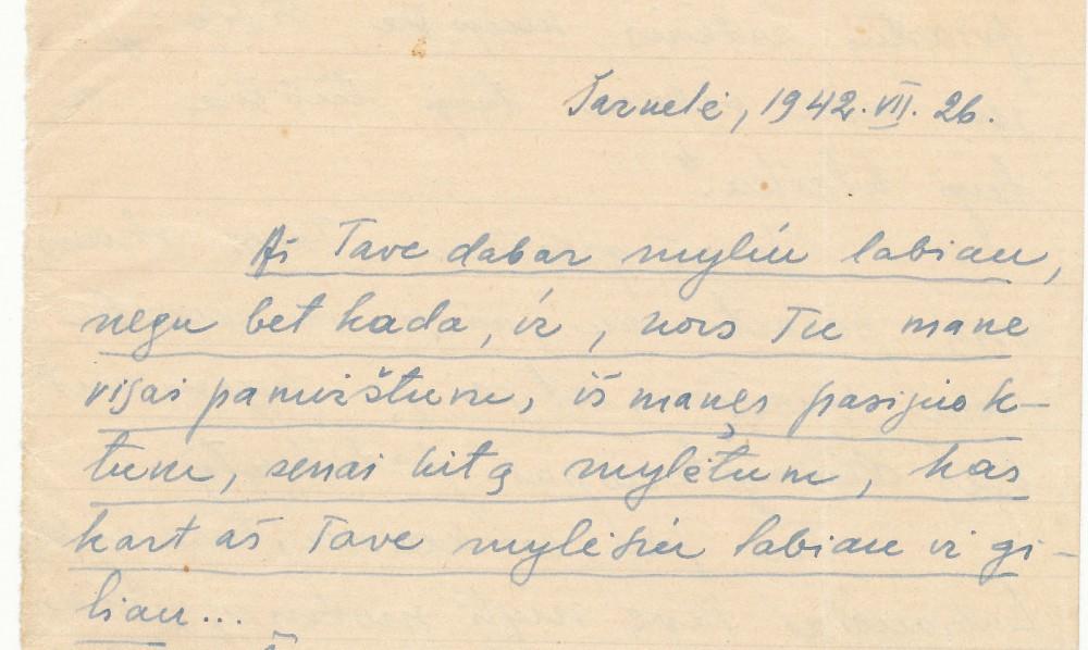 V. Mačernio laiško fragmentas B. Vildžiūnaitei