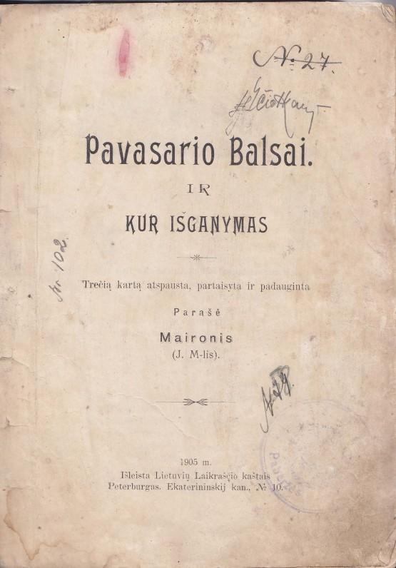 """""""Pavasario balsai"""". Peterburgas. 1905 m."""