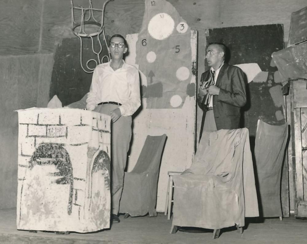 """""""Pypkė"""". Rež. A. Škėma. 1961 m. rugsėjo 6 d. Vaidina A. Škėma (kairėje) ir E. Liogys"""