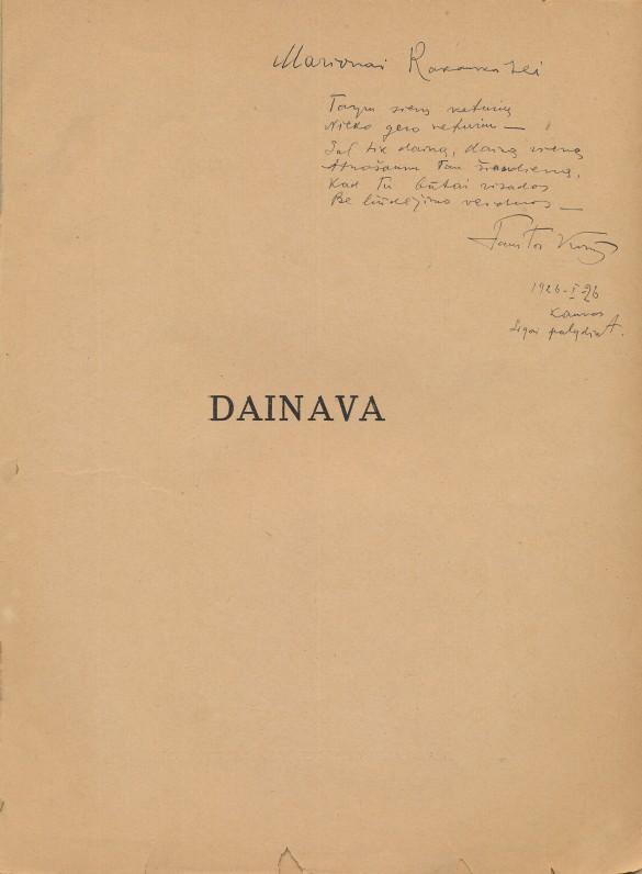 """""""Vilkolakio"""" leidinys. Kaunas. 1920 m. Su dedikacija Marijonai Rakauskaitei"""