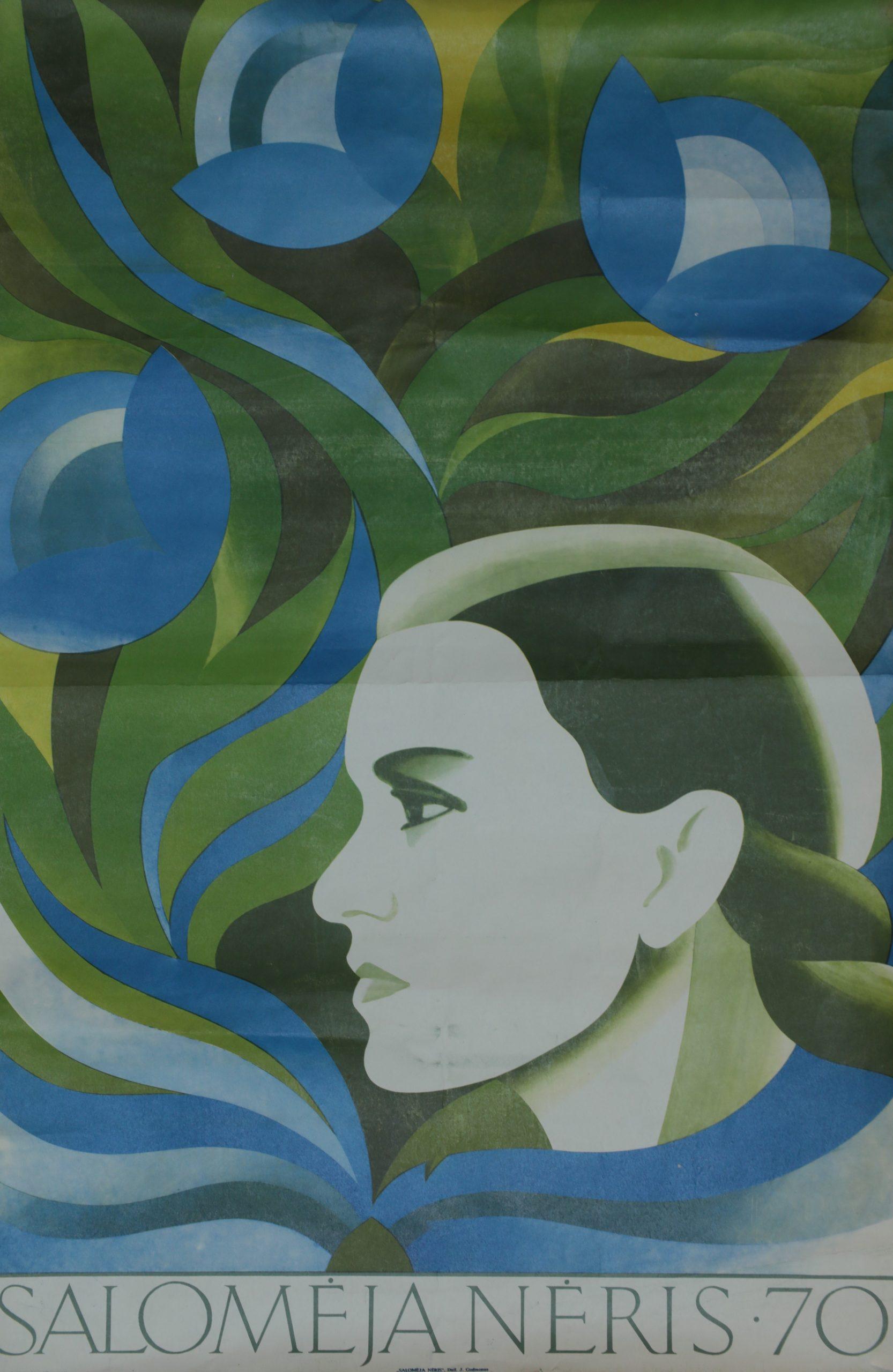 Salomėja Nėris 70, plakato dailininkas J. Gudmonas, 1974 m.