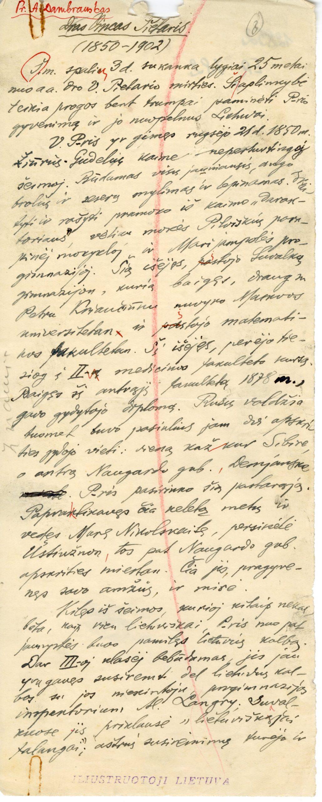 A. Jakšto rankraštis. Straipsnis apie V. Pietarį. 1927 m.