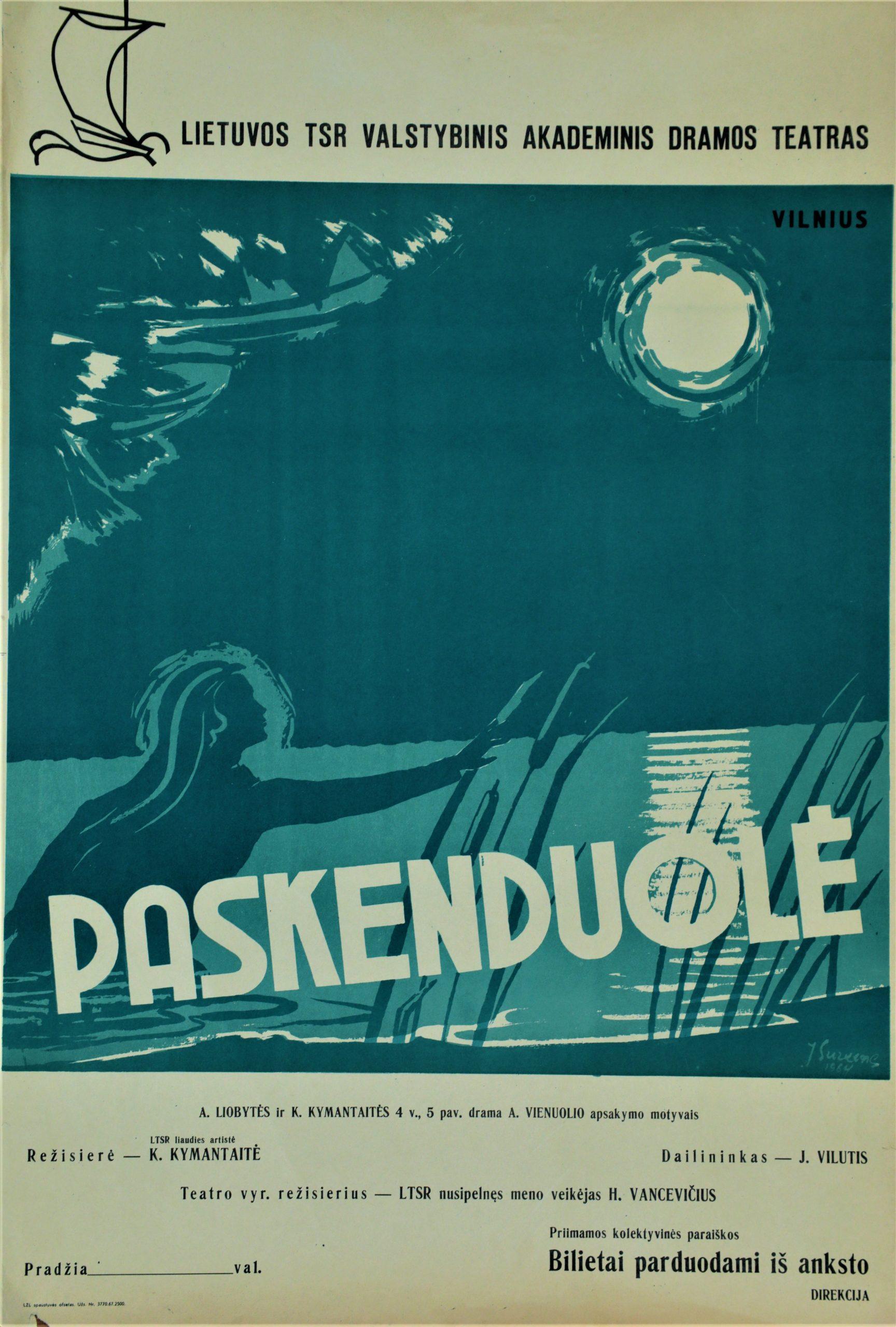 """A. Vienuolis """"Paskenduolė"""", režisierė K. Kymantaitė, LTSR Valstybinis akademinis dramos teatras, 1964 m."""