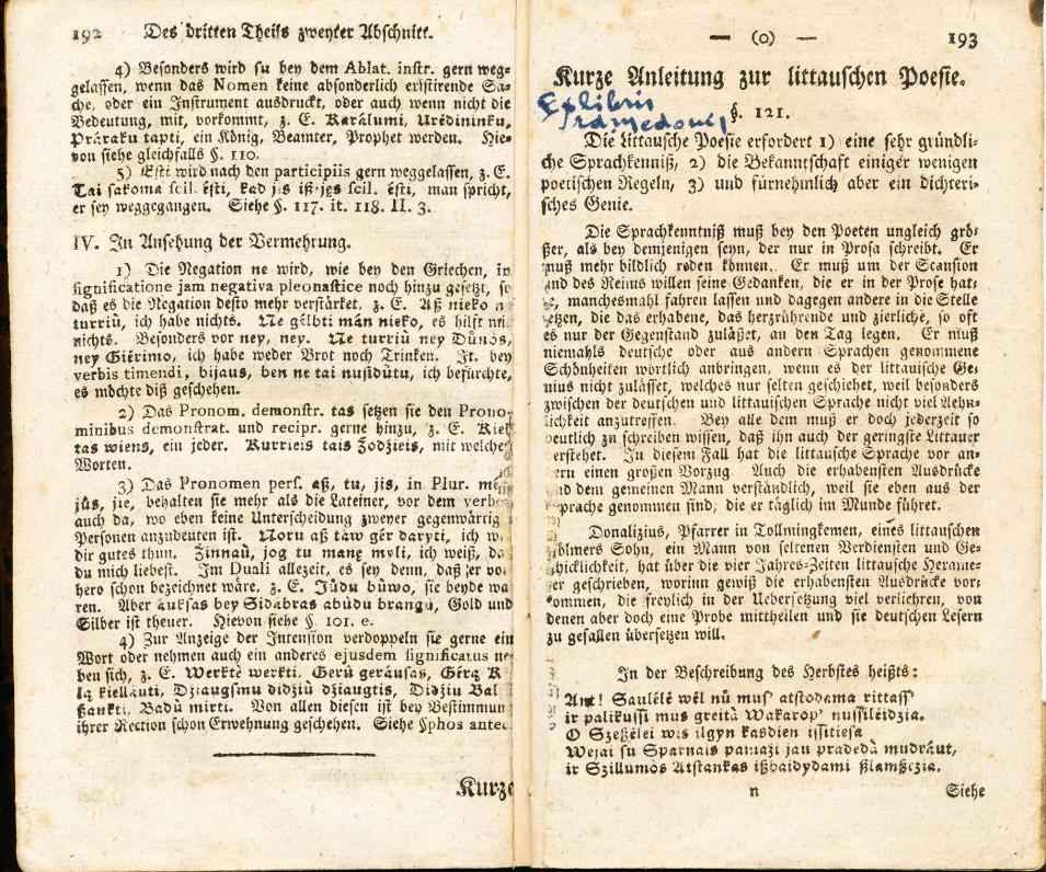 """Kristijonas Gotlybas Milkus. """"Lietuvių kalbos mokslo pradmenys"""". Karaliaučius. 1800 m. Knyga vokiečių kalba. Skyriuje """"Trumpas lietuvių poezijos vadovas"""" pirmą kartą išspausdinta 18 eilučių iš K. Donelaičio """"Metų"""" – 5 eilutės iš """"Rudenio gėrybių"""" ir 13 eilučių iš """"Žiemos rūpesčių"""""""