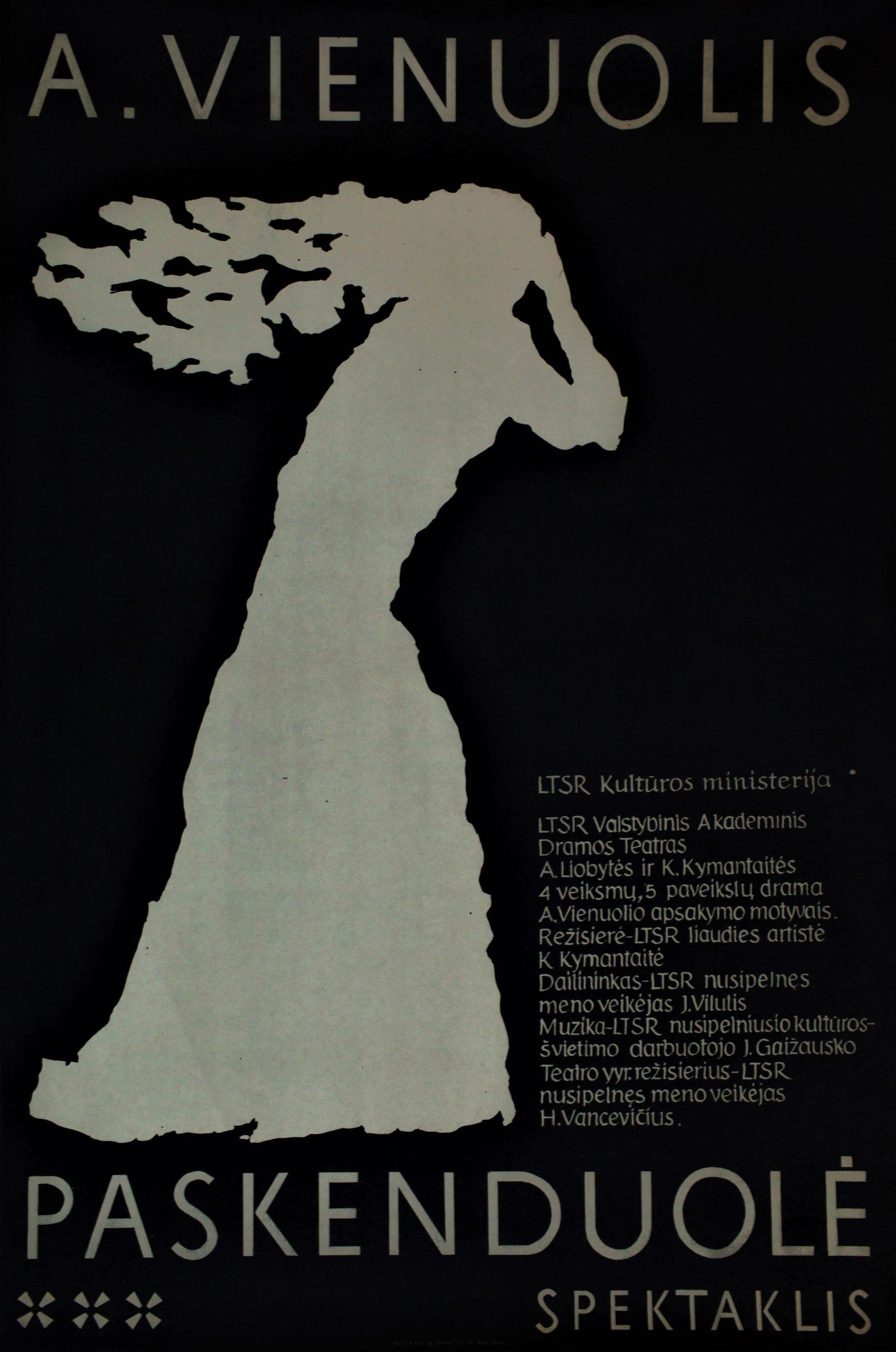 """A. Vienuolis """"Paskenduolė"""", režisierė K. Kymantaitė, LTSR Valstybinis akademinis dramos teatras"""