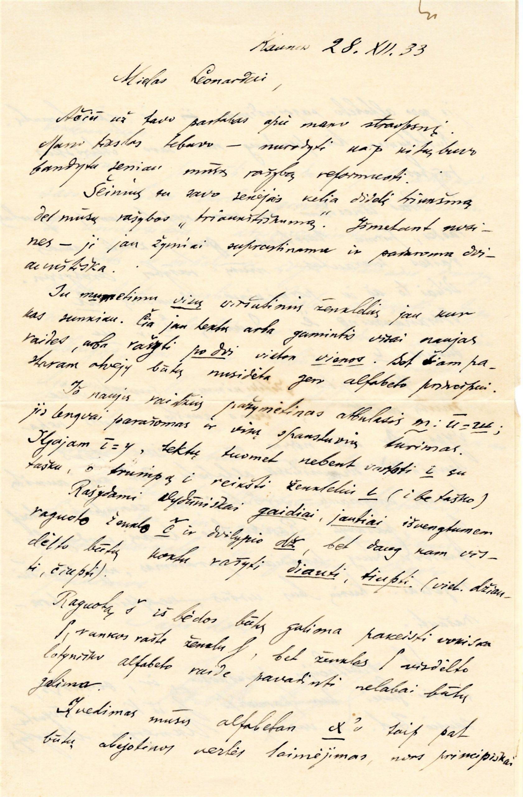 Laiškas sūnėnui Leonardui Dambrauskui apie lietuvišką rašybą