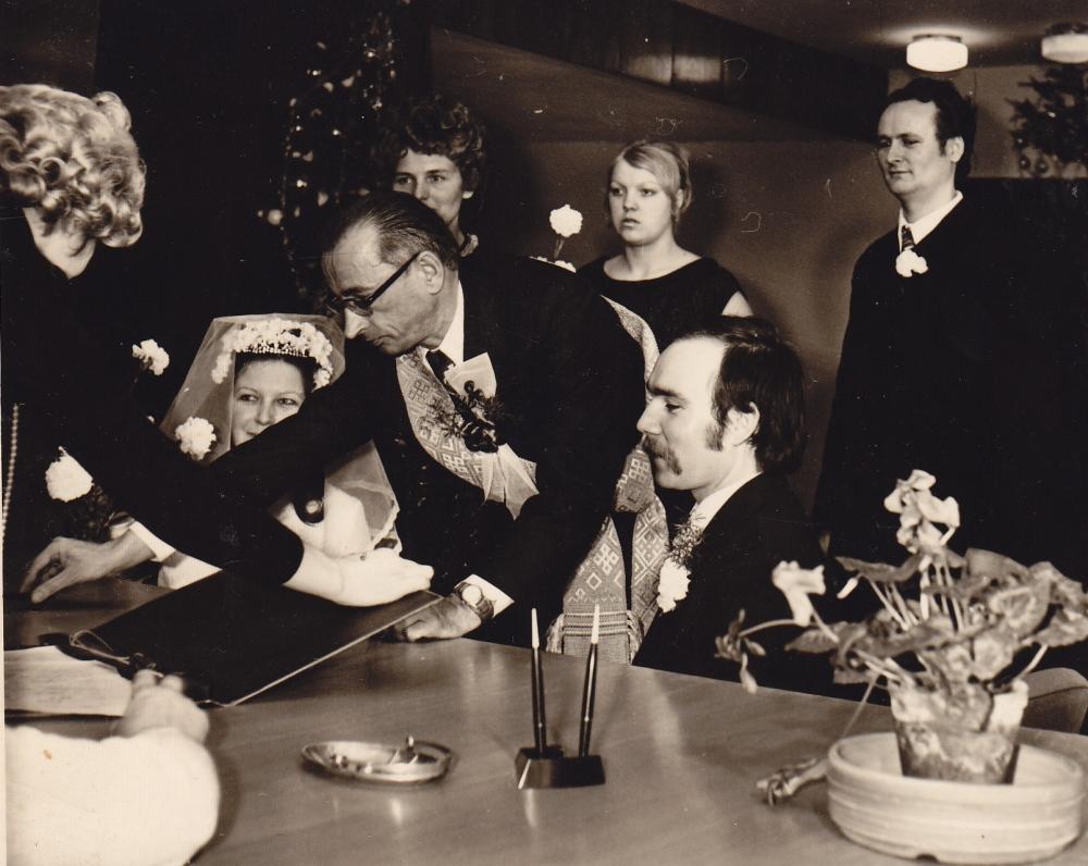 A. Baltrūnas – piršlys V. Kubilinskaitės vestuvėse. 1974 12 31