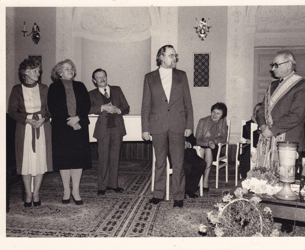 A. Baltrūno 60-mečio minėjimas Menininkų namuose. 1985 m.