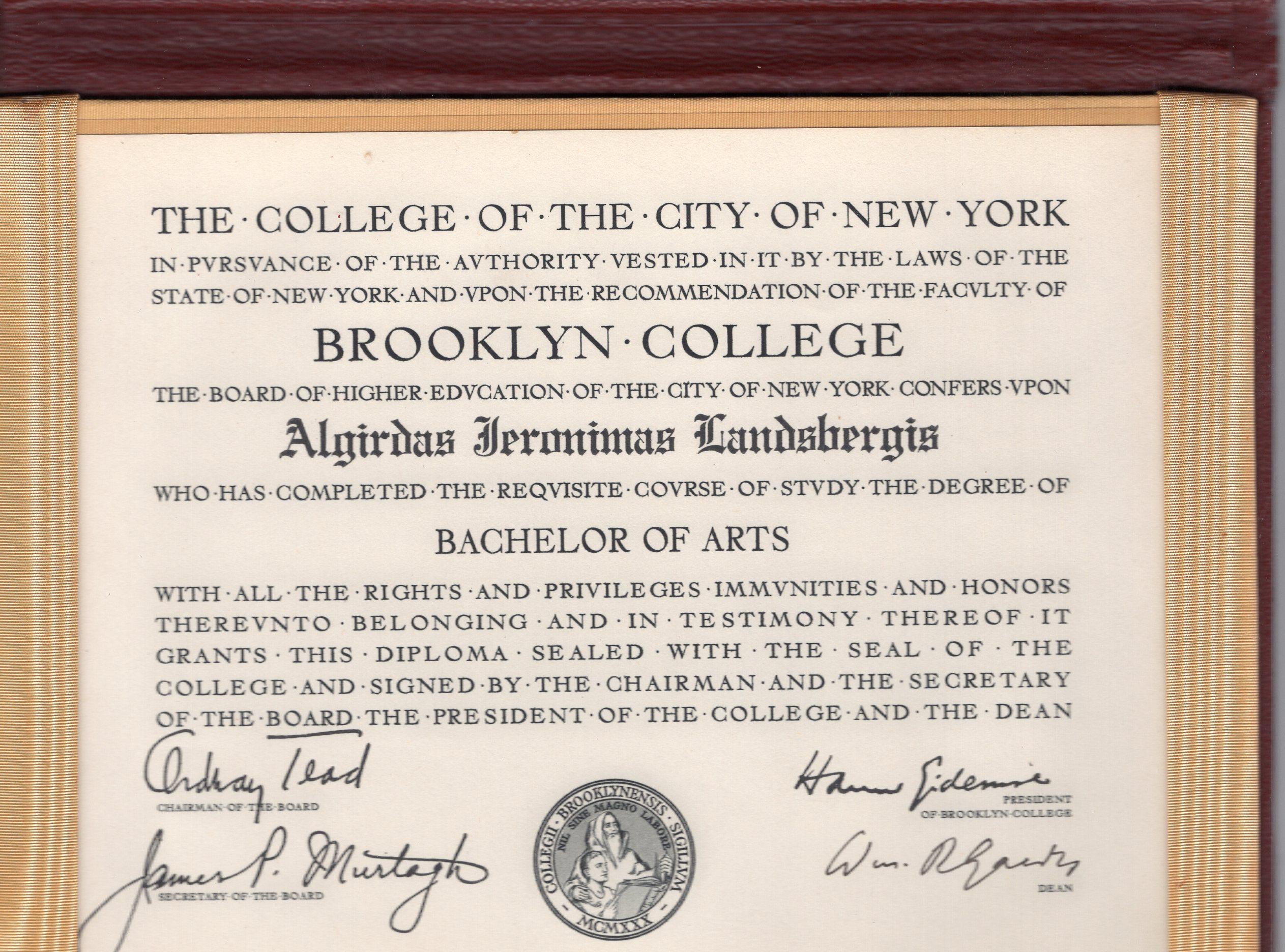 A. Landsbergio Kolumbijos universiteto baigimo diplomas