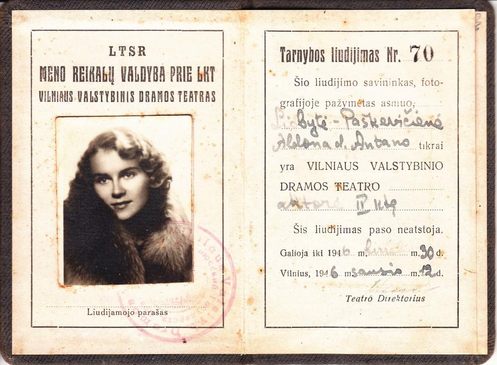 A. Liobytės – Vilniaus dramos teatro aktorės – tarnybos liudijimas. Vilnius, 1946 m.