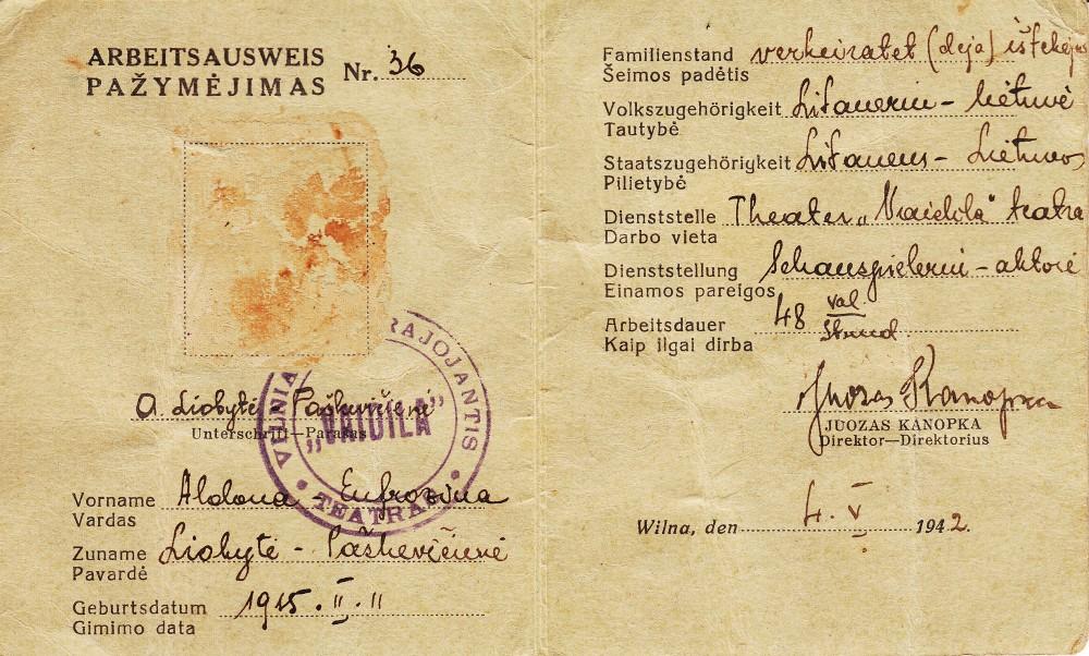 """A. Liobytės – Vilniaus skrajojančio teatro """"Vaidila"""" aktorės – pažymėjimas. Vilnius, 1942 m."""